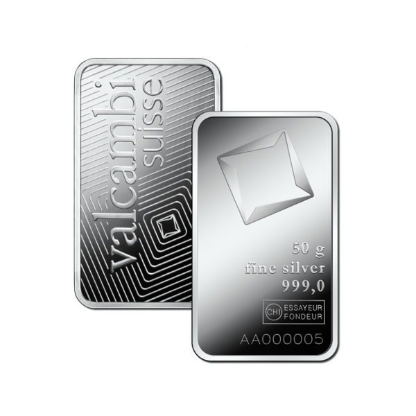 Valcambi 50g srebro
