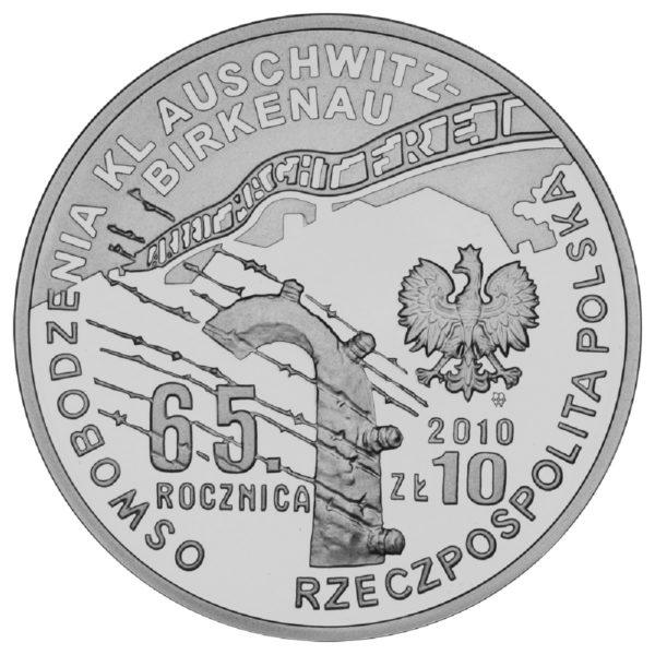 2010_rocznica_oswobodzenia_kl_auschwitz_birkenau_srebrna_moneta_10zl_awers