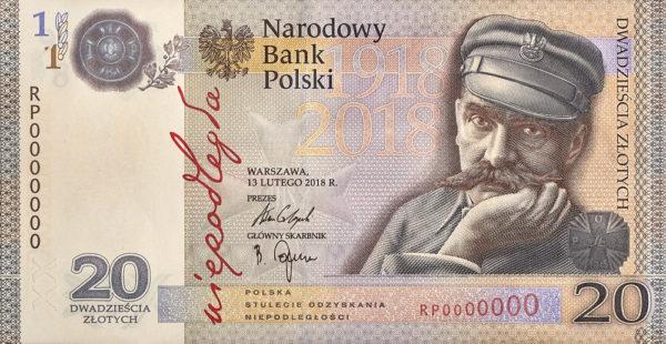 2018_banknot_kolekcjonerski_niepodleglosc_20zl_przod