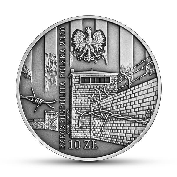 """Srebrna moneta kolekcjonerska 10 zł """"Ofiarom obozu KL Warschau""""."""