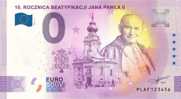 0 Euro 10 Rocznica beatyfikacji Jana Pawła II banknot pamiątkowy awers - GoldBroker.pl