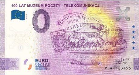 0 Euro 100 lat Muzeum Poczty i Telekomunikacji banknot pamiątkowy awers - GoldBroker.pl