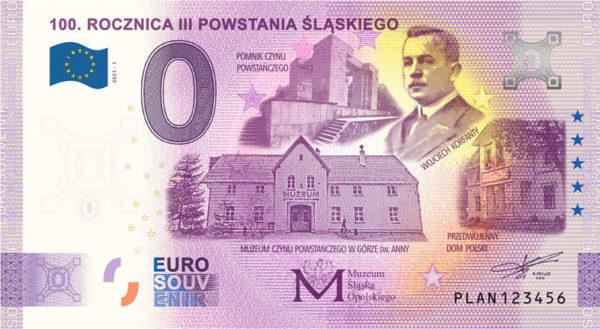 0 euro 100 rocznica Powstania Śląskiego banknot awers - GoldBroker.pl