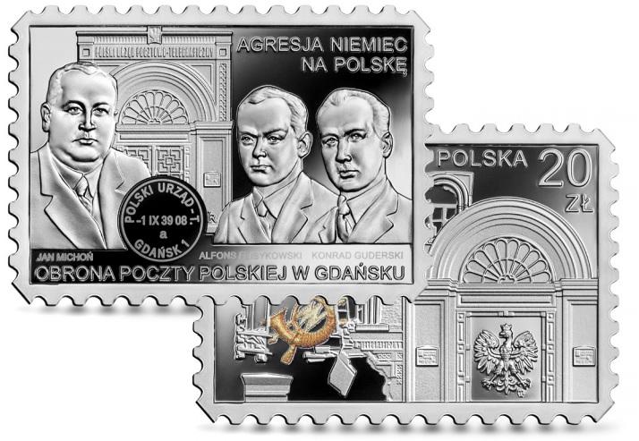Srebrna moneta NBP upamiętniająca bohaterskich obrońców Poczty Polskiej w Gdańsku w roku 1939 - GoldBroker.pl