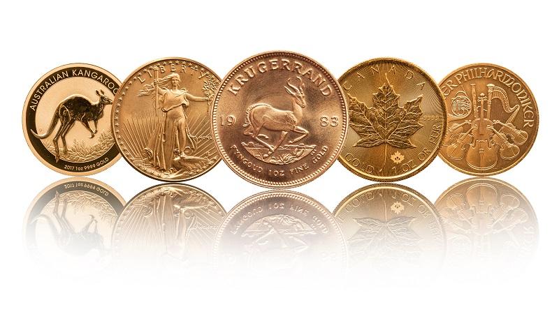 Złote monety bulionowe jedna uncja - Australijski Kangur, Amerykański Orzeł, Krugerrand, Kanadyjski Liść Klonowy, Filharmonicy Wiedeńscy - GoldBroker.pl