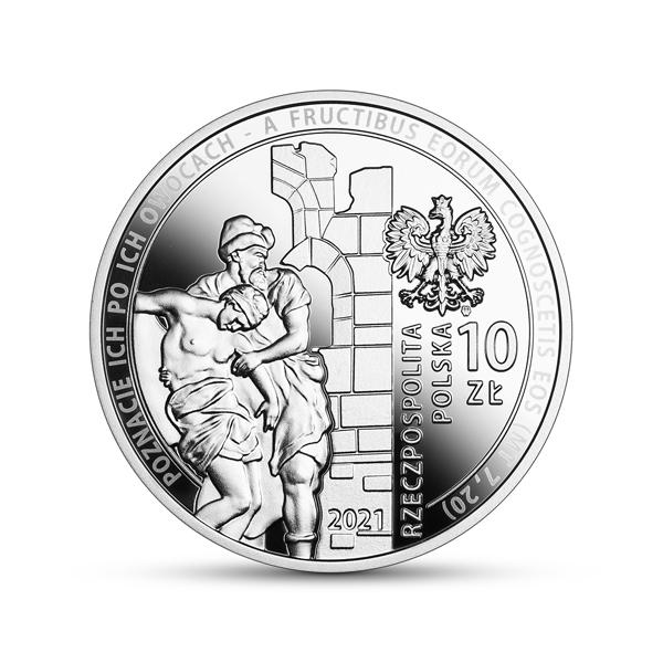 Srebrna moneta kolekcjonerska 30-lecie wznowienia działalności Caritas Polska awers
