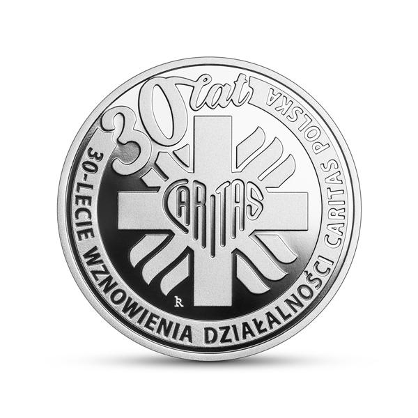 Srebrna moneta kolekcjonerska 30-lecie wznowienia działalności Caritas Polska rewers