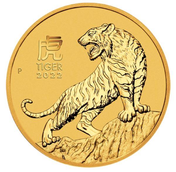 Złota moneta Lunar III Rok Tygrysa 2022 rewers - GoldBroker.pl