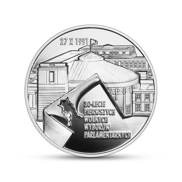 Srebrna moneta 30-lecie pierwszych wolnych wyborów parlamentarnych 2021 rewers