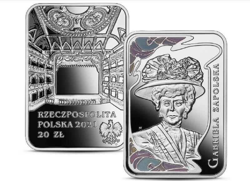 Gabriela Zapolska – srebrna moneta NBP zserii Wielkie aktorki